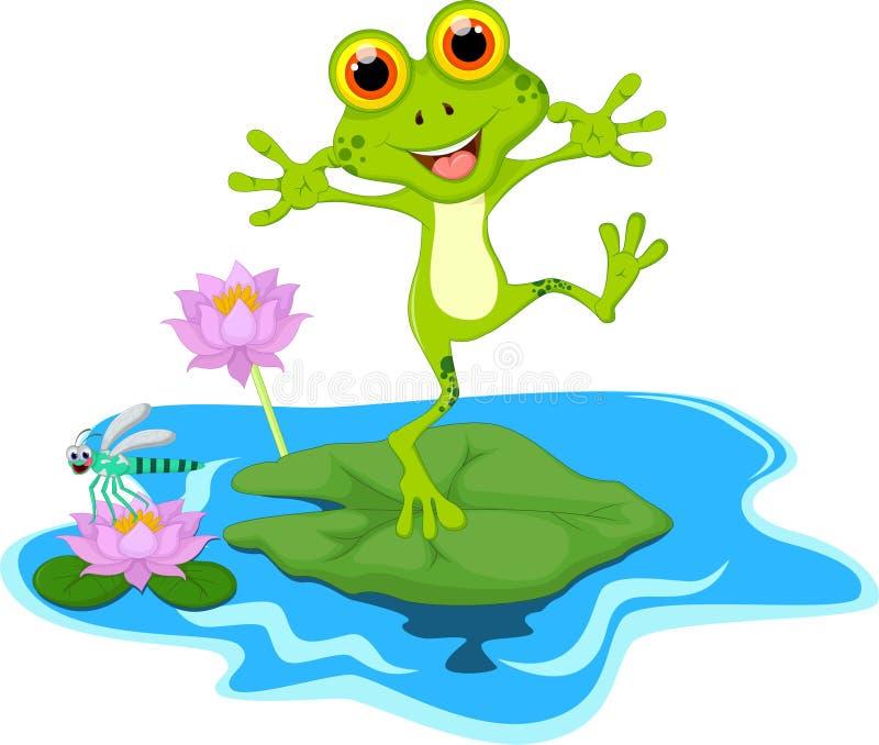 在叶子的愉快的池蛙动画片 向量例证