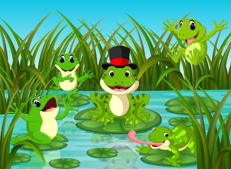 在叶子的许多青蛙有河场面的 库存例证