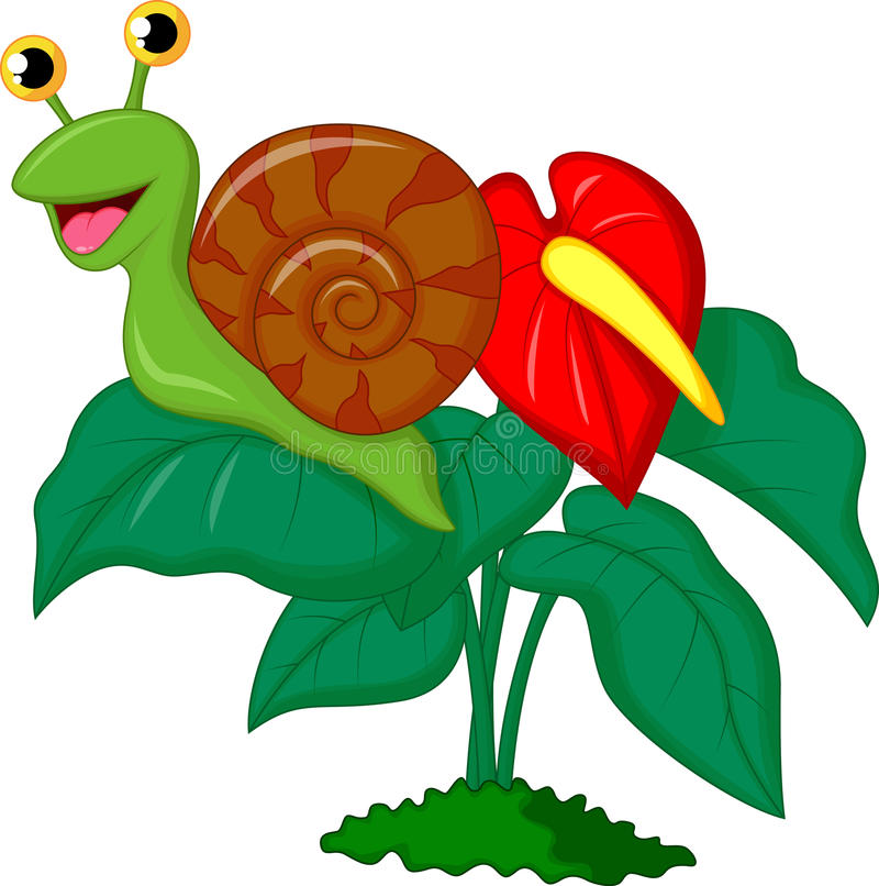 在叶子的逗人喜爱的蜗牛动画片 皇族释放例证