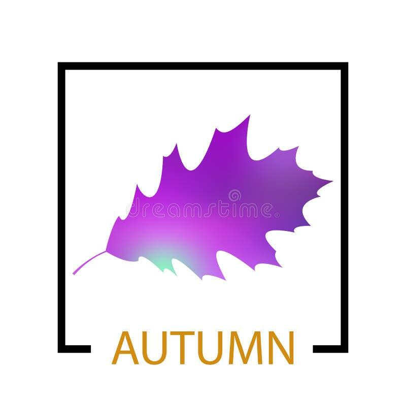 在叶子背景的文本秋天 库存例证