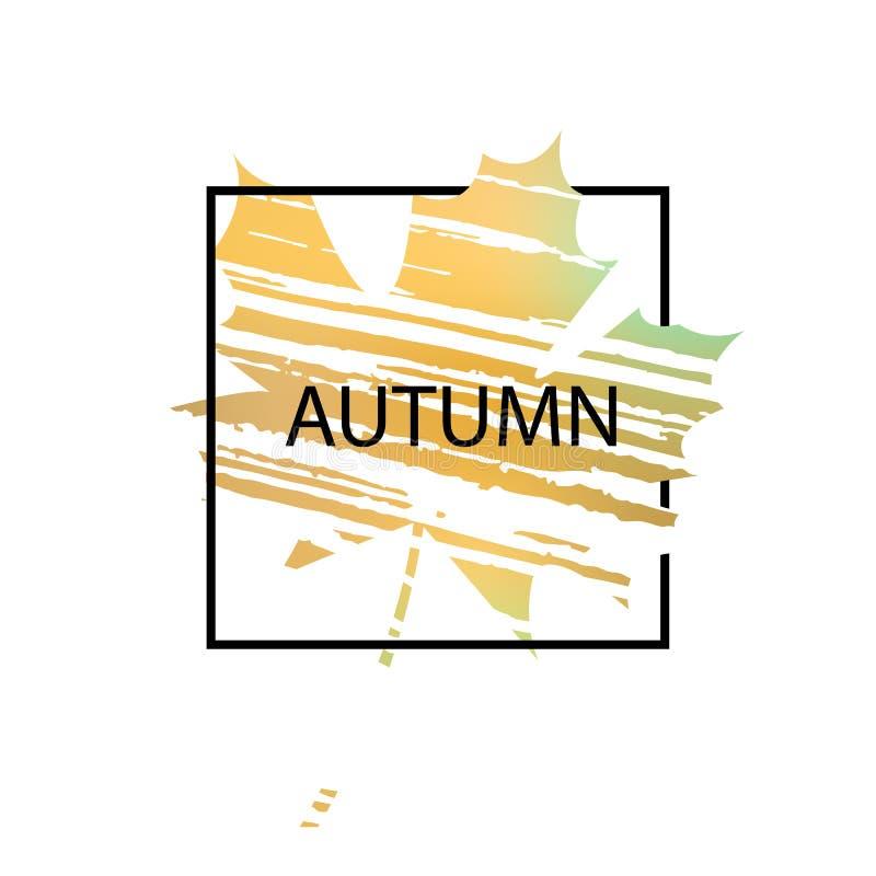 在叶子背景的文本秋天 向量例证