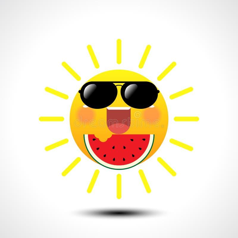 在吃在白色背景的太阳镜的愉快的微笑的夏天太阳西瓜 库存例证