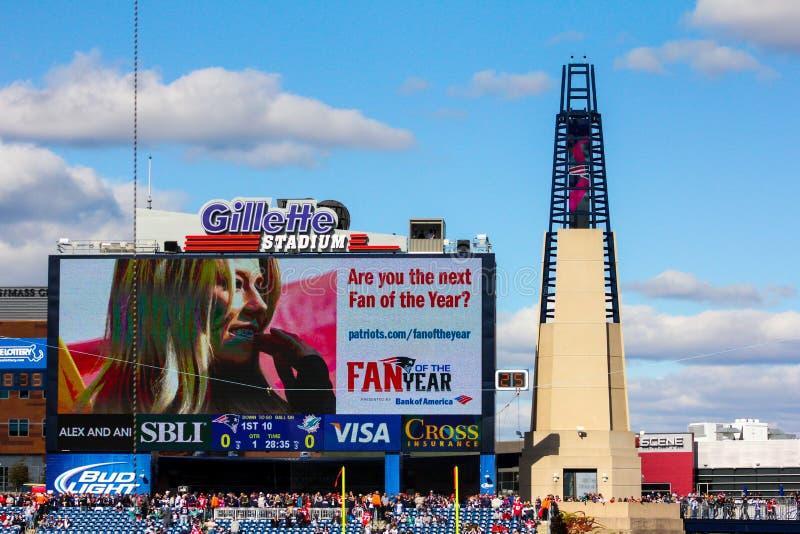 在吉勒特体育场,福克斯伯罗,麻省的灯塔。 免版税库存照片