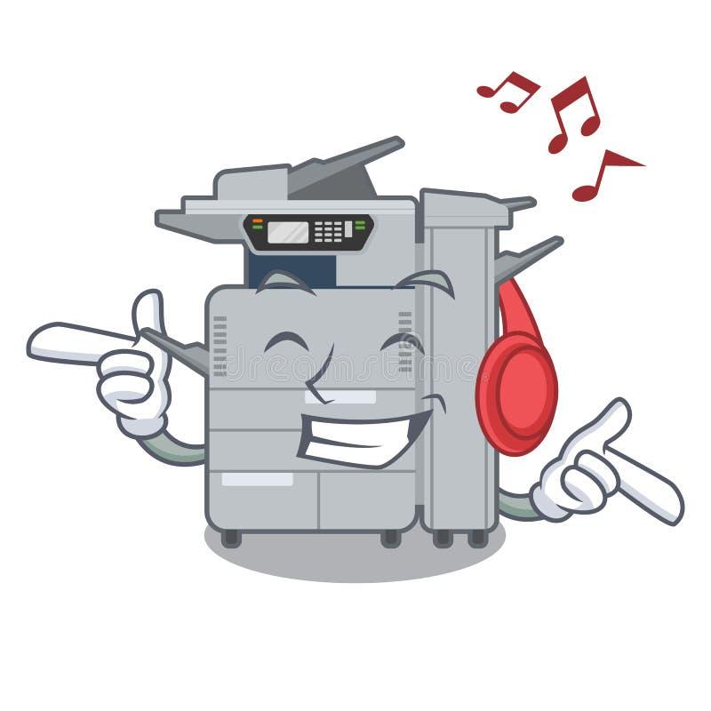 在吉祥人木桌上的听的音乐影印机机器 库存例证