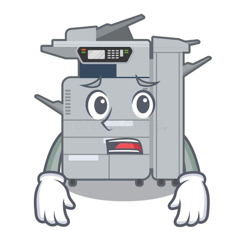 在吉祥人木桌上的害怕影印机机器 向量例证
