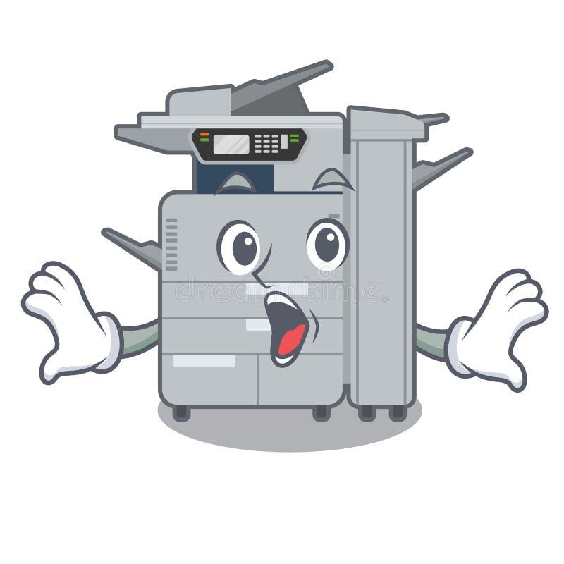 在吉祥人木桌上的惊奇的影印机机器 皇族释放例证