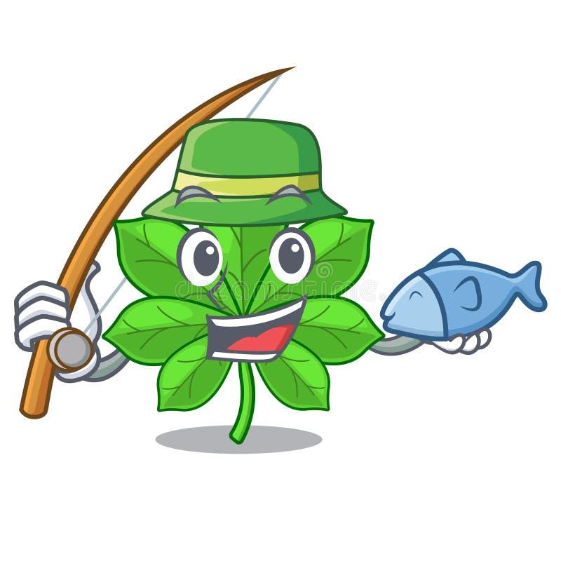 在吉祥人词根的钓鱼七叶树 库存例证