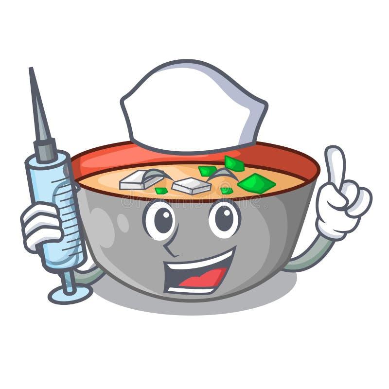 在吉祥人隔绝的护士亚洲汤杯子 向量例证