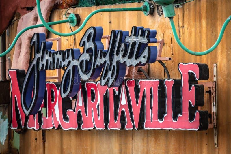 在吉米巴菲特的Margaritaville蒙特奇湾牙买加的外部标志 免版税库存图片