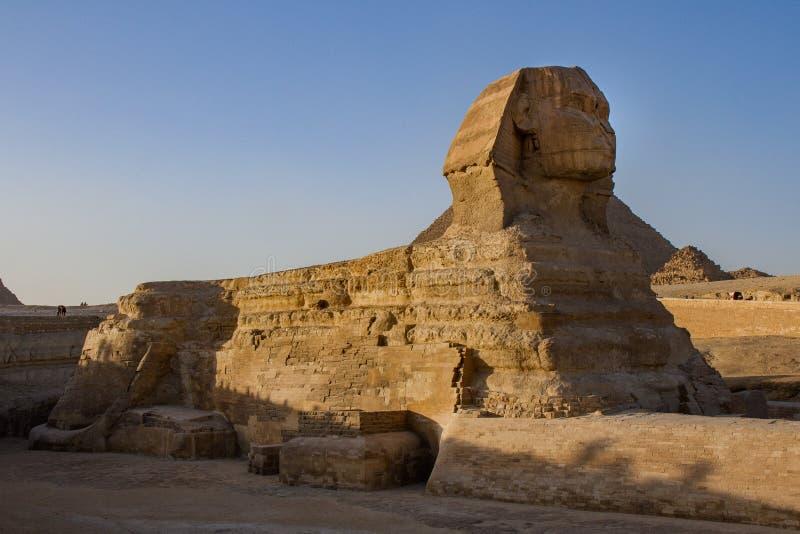 在吉萨棉复合体,吉萨棉,埃及伟大的金字塔的斜倚的伟大的狮身人面象  库存照片