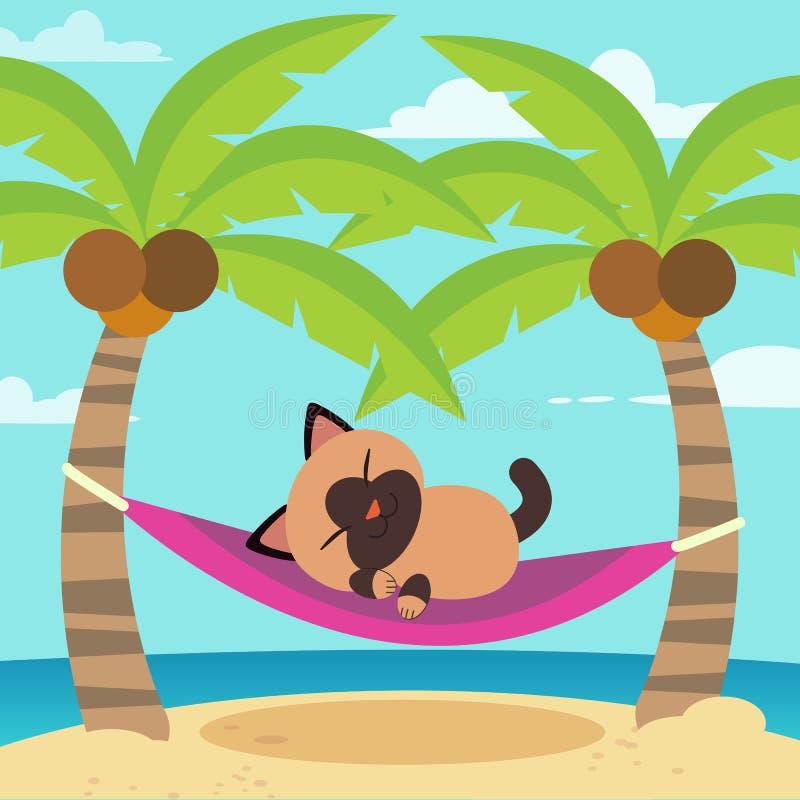 在吊床的逗人喜爱的动画片传染媒介猫 向量例证