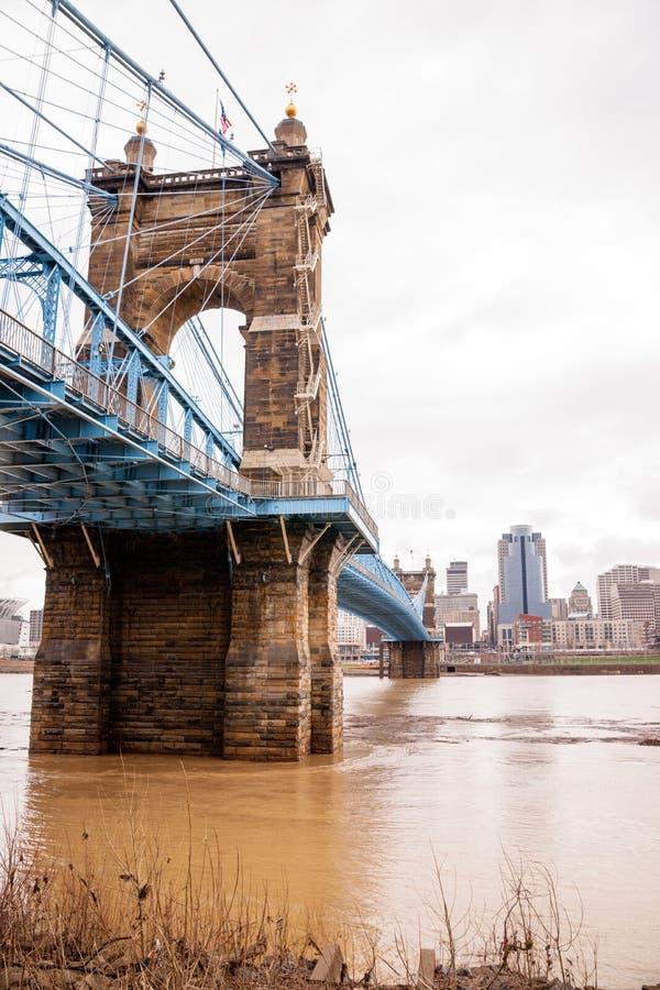 在吊桥纽波特肯塔基辛辛那提俄亥俄Ri的风暴 库存照片