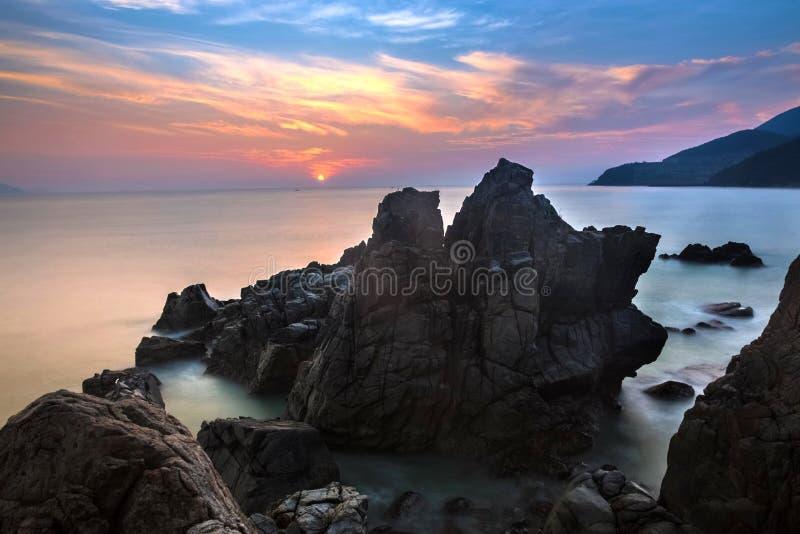 在吊Heo,自然地芽庄市海湾的,芽庄市,Khanh Hoa,越南未触动过的地方的冰砾 库存照片