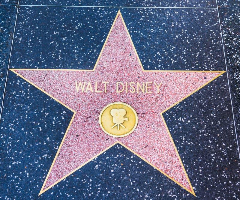 在名望好莱坞步行的华特・迪士尼星  库存图片