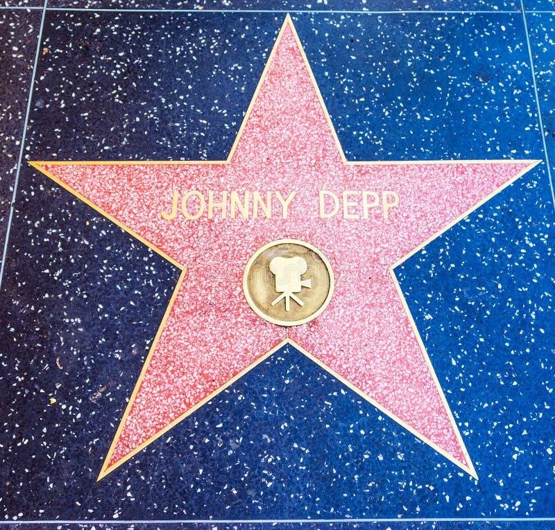 在名望好莱坞步行的强尼・戴普星  图库摄影