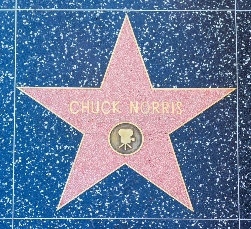 在名望好莱坞步行的查克・罗礼士星  免版税库存照片