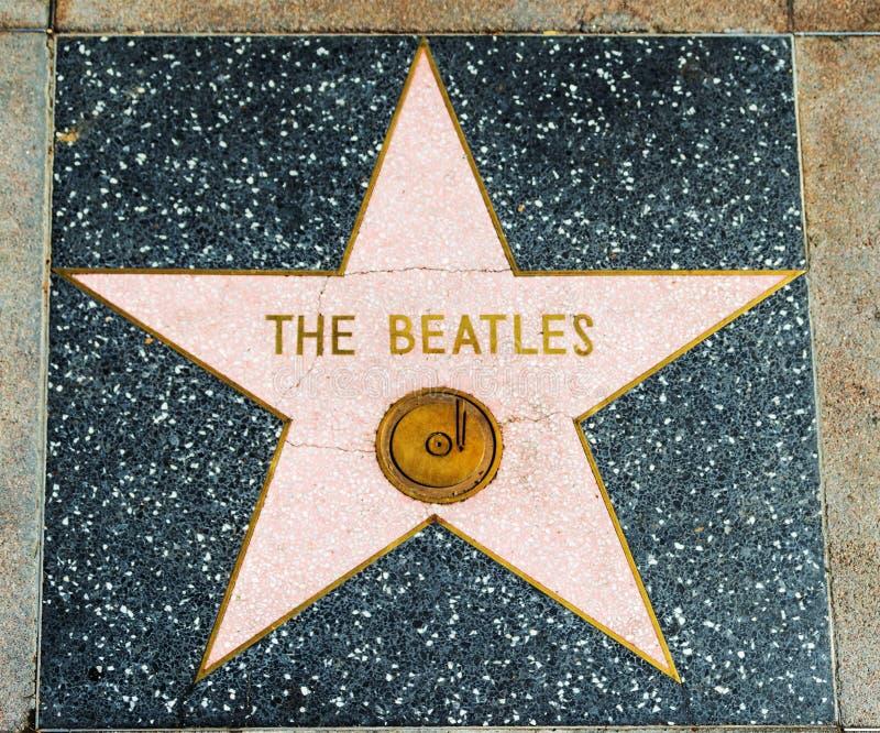 在名望好莱坞步行的Beatles星  库存照片