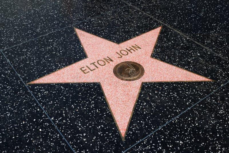 在名望,洛杉矶好莱坞步行的艾尔顿・约翰星  图库摄影