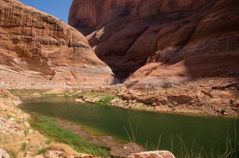 在后面峡谷的小河在湖鲍威尔 免版税库存照片
