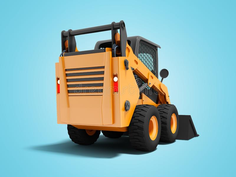 在后面的现代橙色微型装载者有在蓝色背景的黑3d车手的与阴影 向量例证