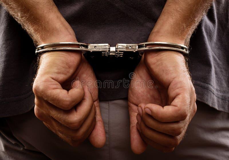 在后面的被拘捕的人扣上手铐的手 图库摄影