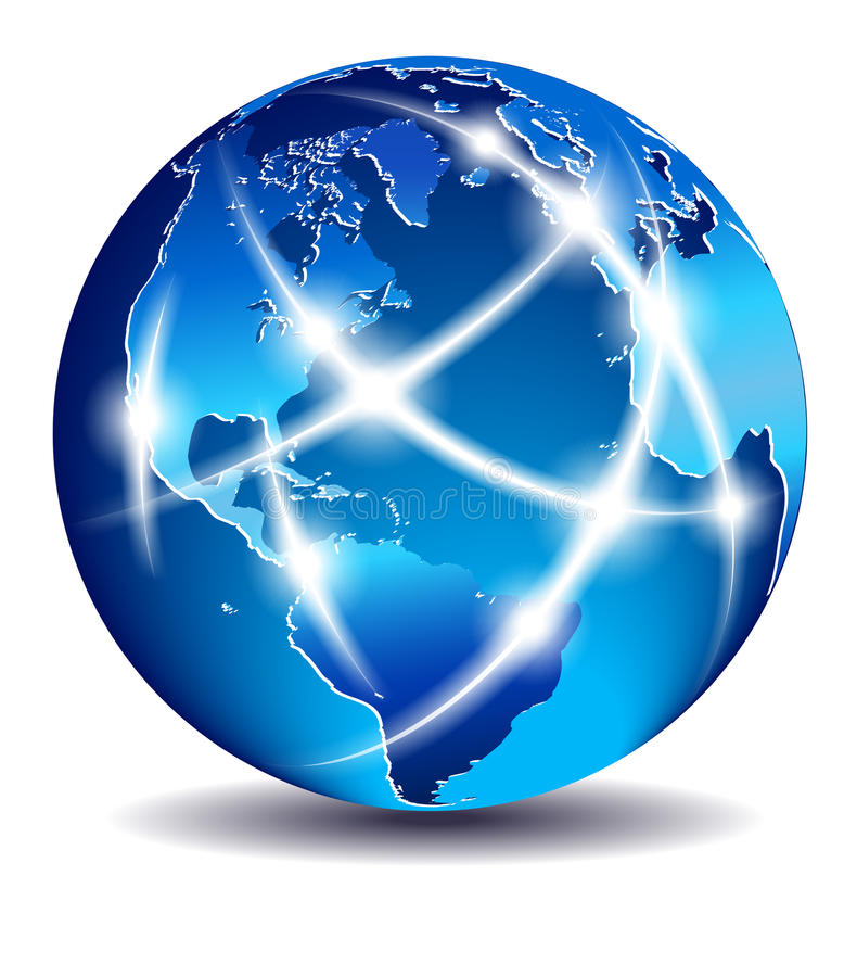 在向世界显示的通信大陆间 向量例证