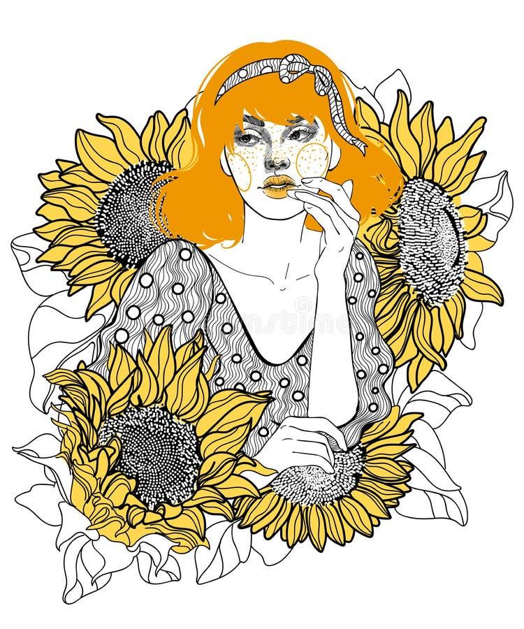 在向日葵中的金发女孩 皇族释放例证