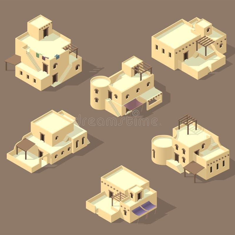 在含沙隔绝的Iso阿拉伯房子 库存例证