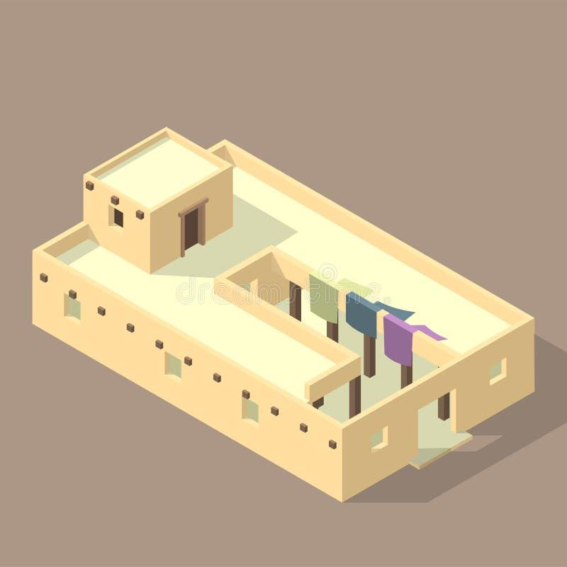 在含沙隔绝的Iso阿拉伯房子 皇族释放例证