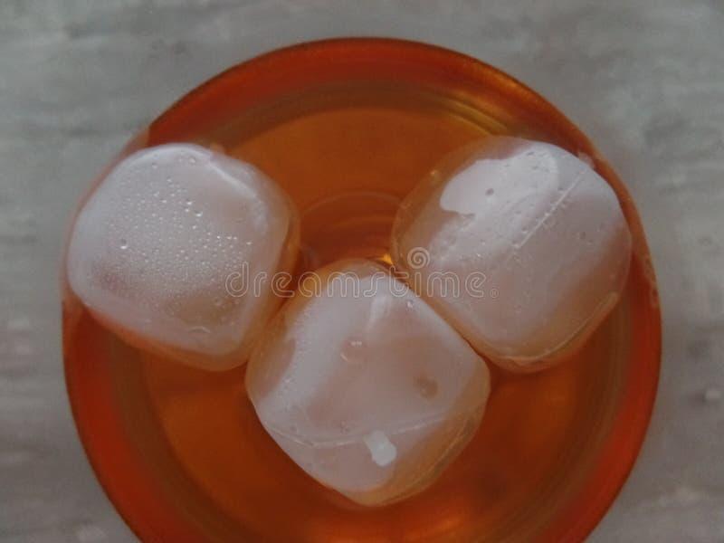 在含酒精成分的冰致冷机喷从上面看的鸡尾酒饮料 免版税库存图片