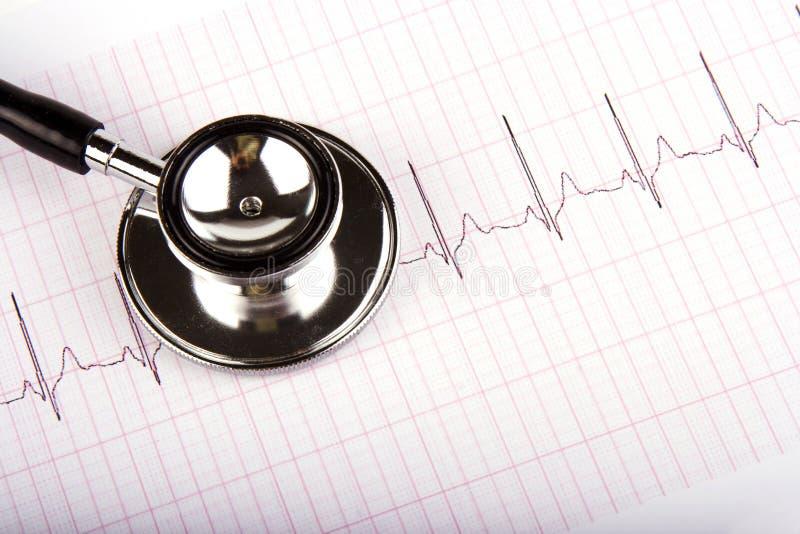 在听诊器的心电图 免版税库存照片
