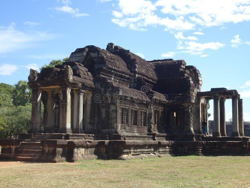 在吴哥窟寺庙的废墟在暹粒在柬埔寨 免版税图库摄影
