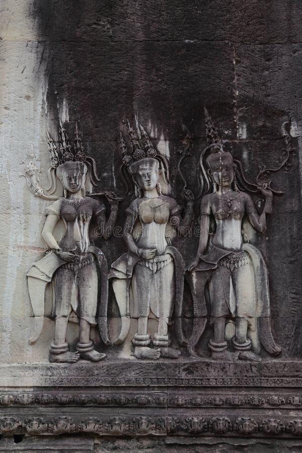 在吴哥窟寺庙,暹粒,柬埔寨的雕象 图库摄影