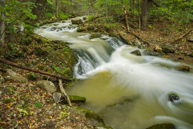 在咆哮跑的小河的高潮 库存图片
