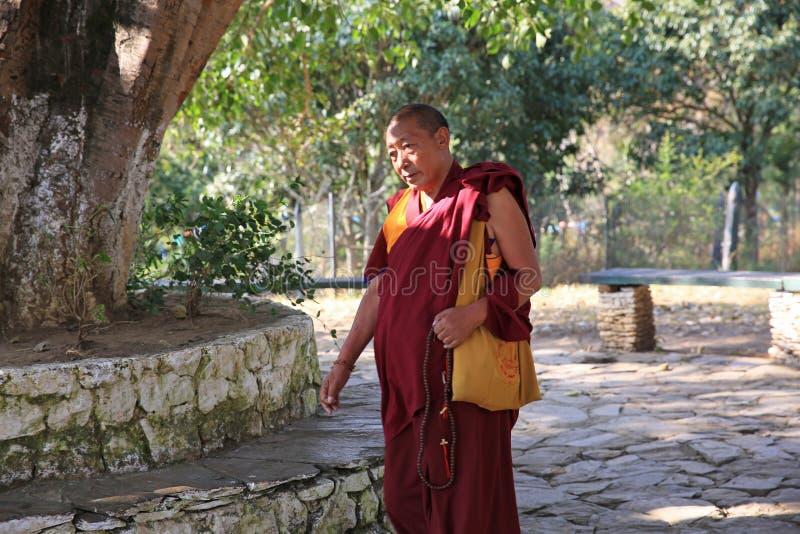 在和尚,不丹的面孔的阳光 免版税库存照片