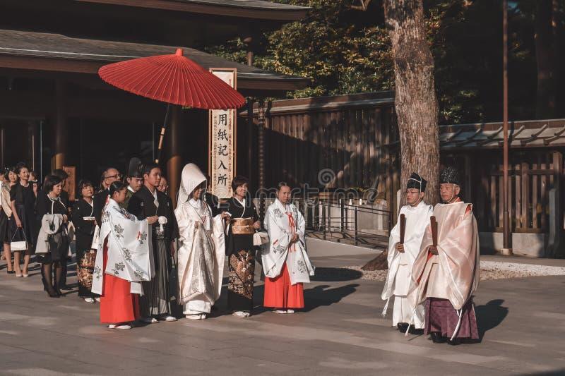 在和服的传统日本婚礼 免版税库存图片