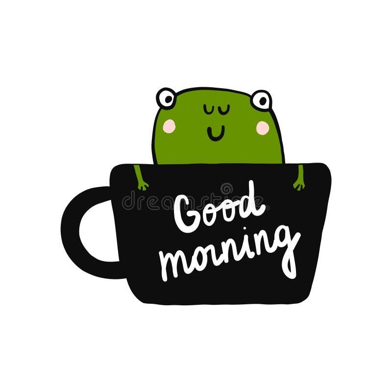 在咖啡与青蛙例证黑白手拉的上写字的早晨好在minimalistic样式为 皇族释放例证