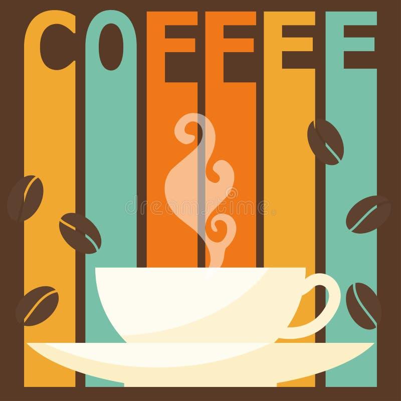 在咖啡时间题材的明亮的彩色插图用于设计 皇族释放例证