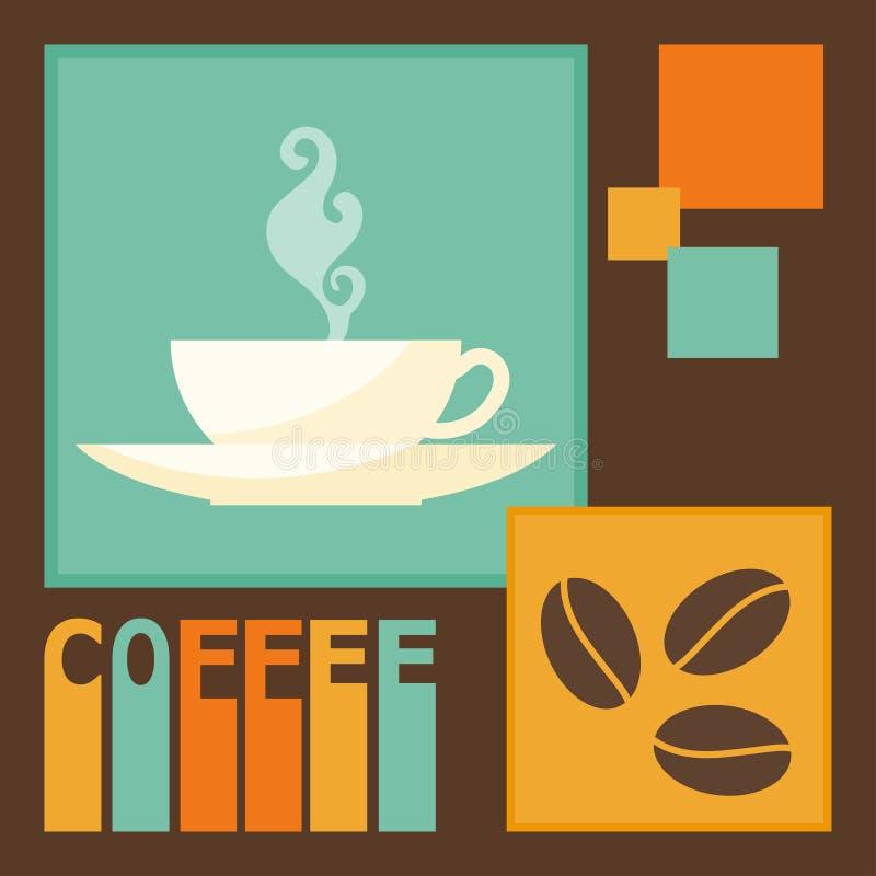 在咖啡时间题材的明亮的彩色插图用于设计 向量例证