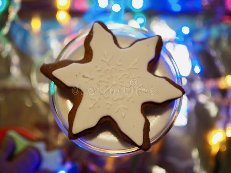 在咖啡杯,圣诞节心情的姜饼 免版税图库摄影