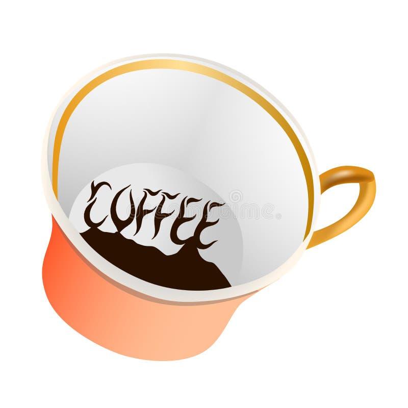 在咖啡题材的例证与一个美丽的杯子和咖啡渣的 库存例证