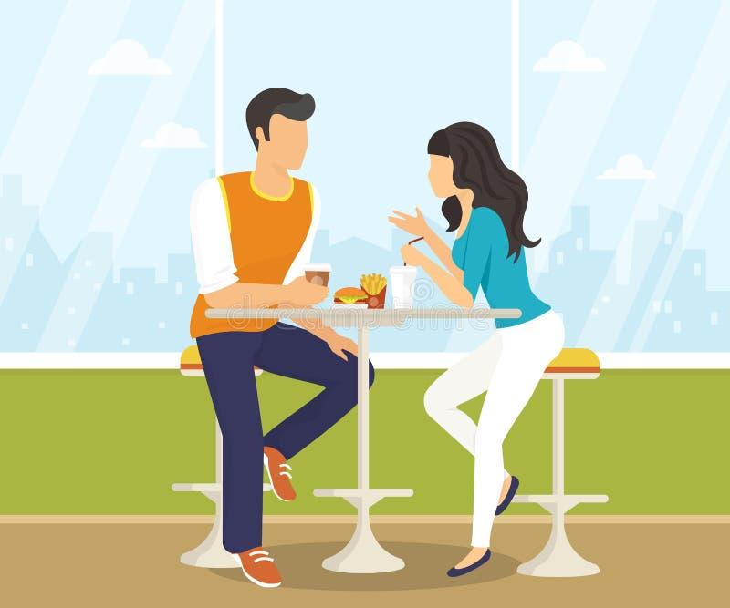 在咖啡馆的夫妇 向量例证