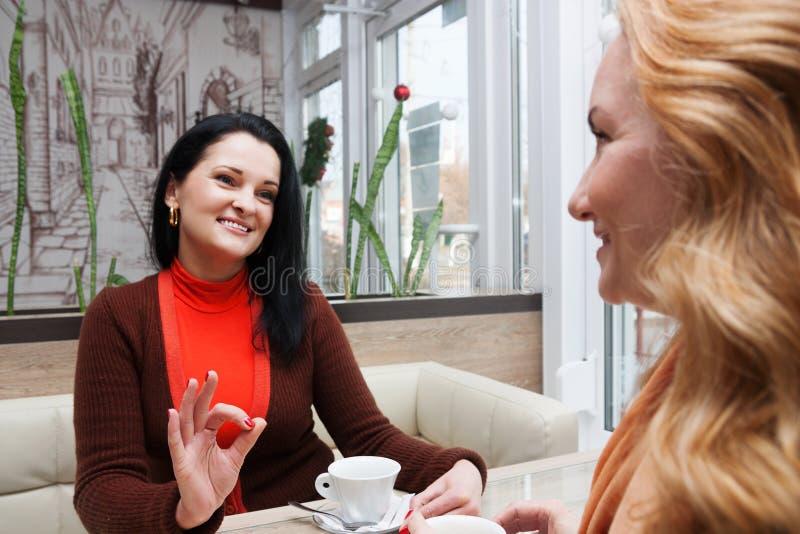 在咖啡馆的妇女闲话 免版税库存图片