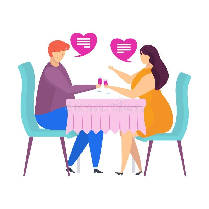 在咖啡馆的日期,柔和的词,爱的声明 字符为情人节 皇族释放例证