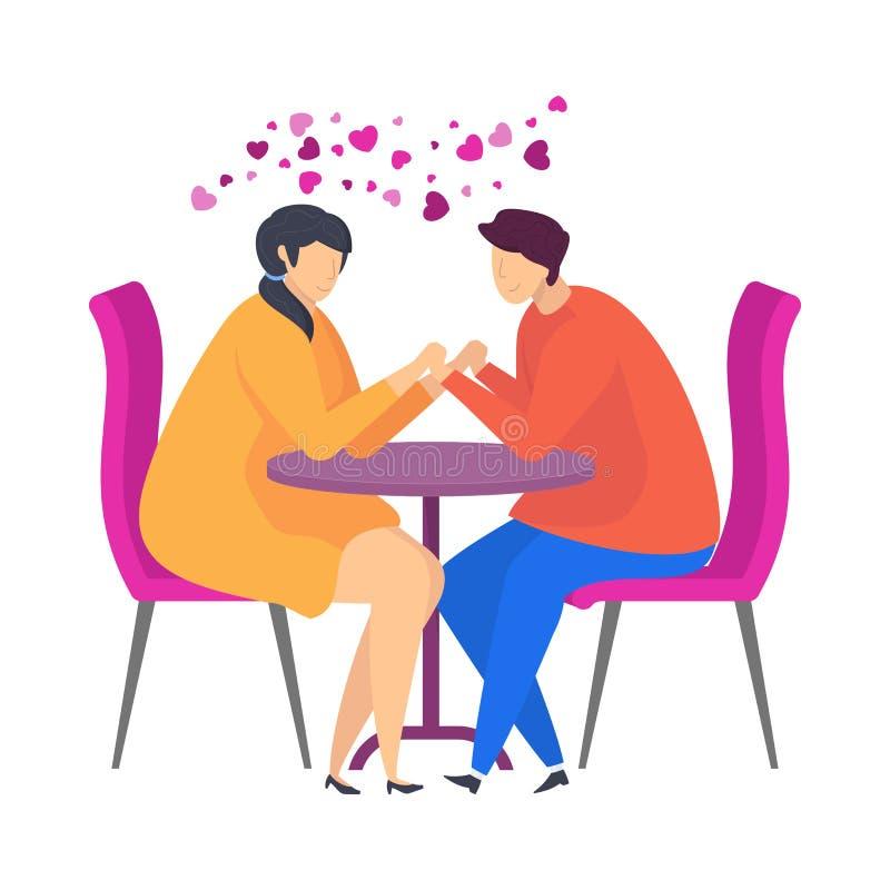 在咖啡馆的日期,柔和的词,爱的声明 字符为情人节 库存例证