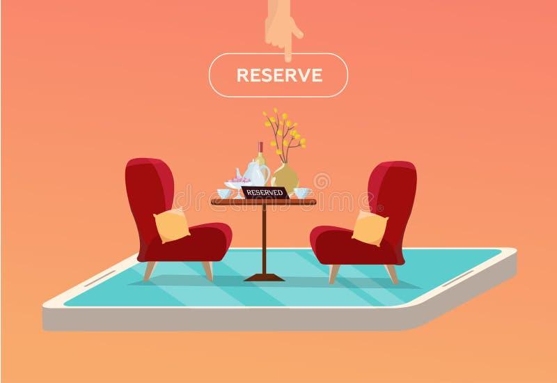 在咖啡馆的网上后备的桌 在餐馆预留的概念 在一条腿的表有有盘的2把软的舒适的红色扶手椅子的 皇族释放例证