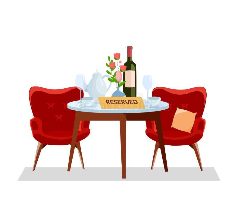 在咖啡馆预留的概念 餐馆桌和酒杯,罐,瓶,杯子 吃饭的客人设置、软的红色扶手椅子和花 皇族释放例证