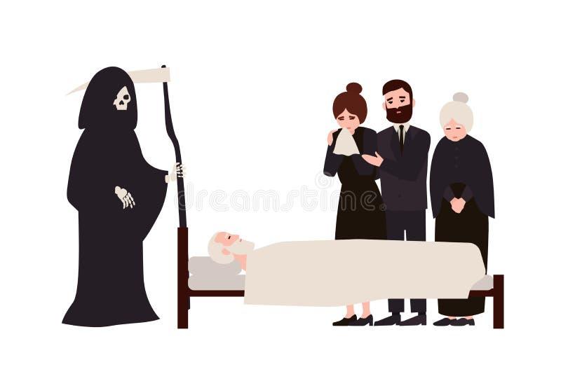 在哀悼的衣裳和死亡打扮的小组哀伤的人民有大镰刀身分的在死人附近 发怨言的 向量例证