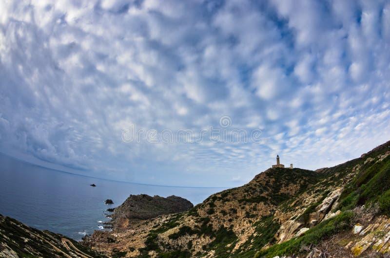 在品柱Sandalo的灯塔在圣彼得罗海岛,撒丁岛西海岸  免版税图库摄影