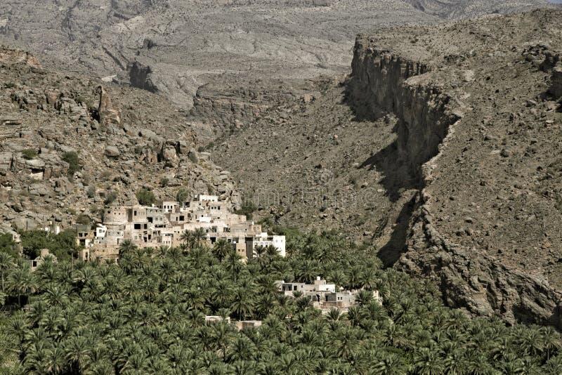 在哈吉尔山的Al Misfah,阿曼苏丹国 免版税图库摄影
